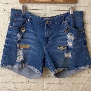 1826 army patch denim shorts
